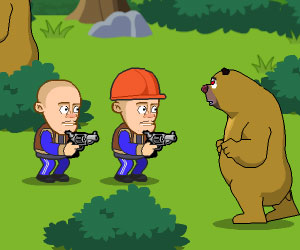 Defend Your Cabin, 2 player bear game, Play Defend Your Cabin Game at twoplayer-game.com.,Play online free game.